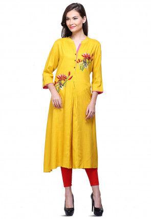 Aari Embroidered Cotton Rayon Flared Kurta in Mustard