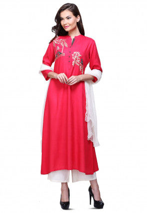 Aari Embroidered Cotton Slub Pakistani Suit in Fuchsia