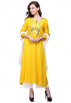 Aari Embroidered Cotton Slub Pakistani Suit in Mustard