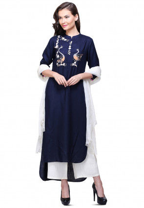 Aari Embroidered Cotton Slub Pakistani Suit in Navy Blue