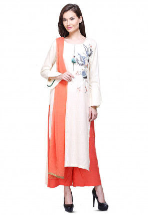 Aari Embroidered Cotton Slub Pakistani Suit in Off White