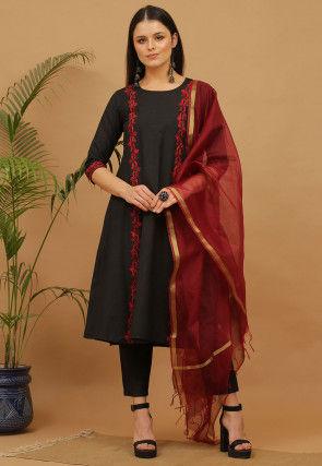 Aari Work Cotton Anarkali Suit in Black