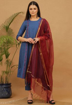 Aari Work Cotton Anarkali Suit in Blue