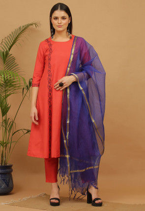 Aari Work Cotton Anarkali Suit in Coral Red