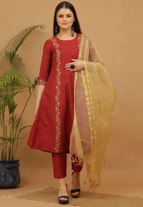 Aari Work Cotton Anarkali Suit in Maroon