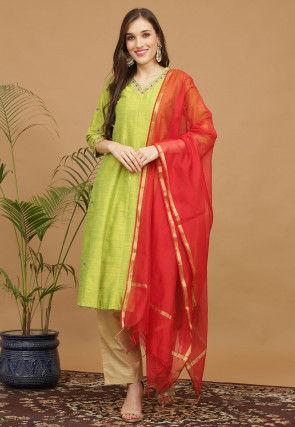 Aari Work Dupion Silk Anarkali Suit in Light Green