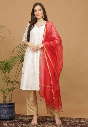 Aari Work Dupion Silk Anarkali Suit in Off White