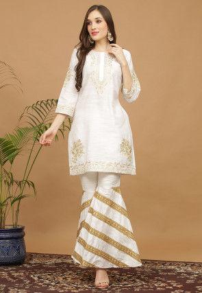 Aari Work Dupion Silk Kurta with Sharara in Off White