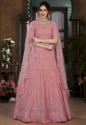 Aari Work Georgette Lehenga in Dusty Pink