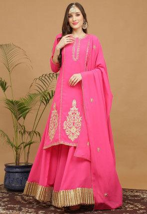 Aari Work Georgette Lehenga in Pink