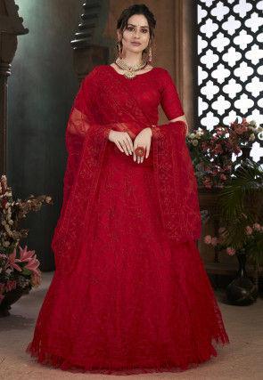 Aari Work Net Lehenga in Red