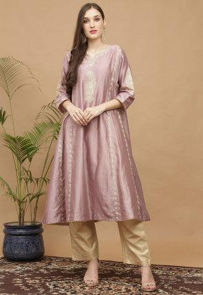 Aari Work Pure Silk Kurta with Pant in Dusty Pink
