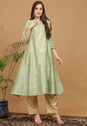 Aari Work Pure Silk Kurta with Pant in Light Green