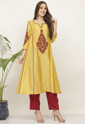 Aari Work Pure Silk Kurta with Pant in Pastel Yellow