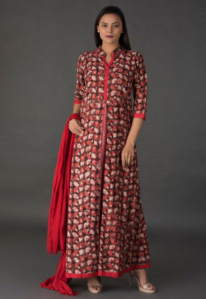 Abstract Printed Cotton Abaya Style Suit in Rust