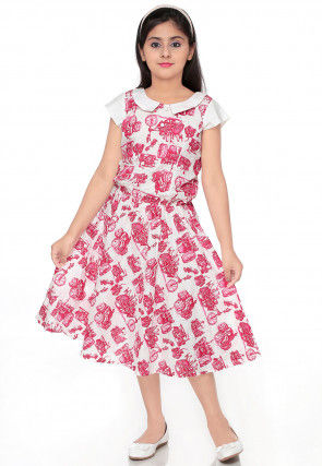 Abstract Printed Cotton Dress in Off White and Pink