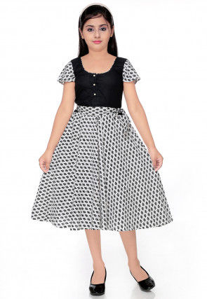 Abstract Printed Cotton Dress in White and Black