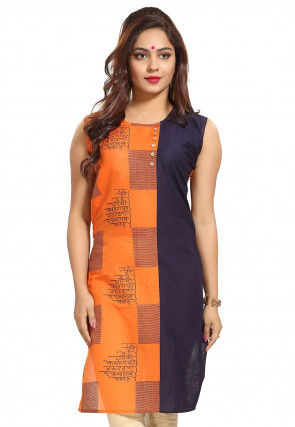 Abstract Printed Cotton Straight Kurti in Orange and Navy Blue
