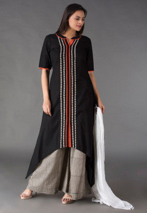 Abstract Printed Placket Cotton Pakistani Suit in Black