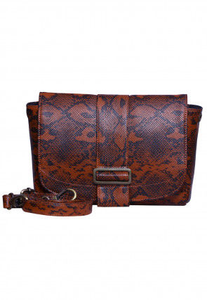 Abstract Printed PU Leather Fanny Pack (Waist Pouch) in Brown