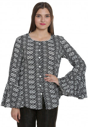 Abstract Printed Rayon Front Open Top in Black and White