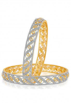 American Diamond Studded Bangle Pair