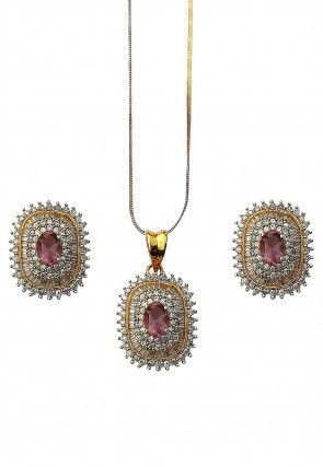 American Diamond Studded Gold Plated Pendant Set