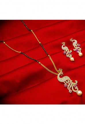 American Diamond Studded Peacock Style Mangalsutra Set