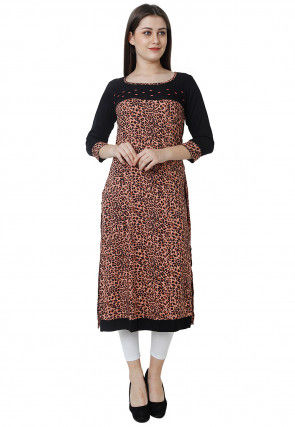 Animal Printed Rayon Kurta in Peach and Black