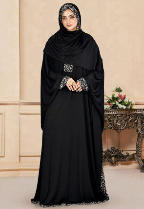 Animal Printed Trims Lycra Abaya in Black