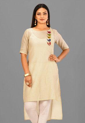 Appliqued Cotton Chanderi High Low Kurta in Light Beige