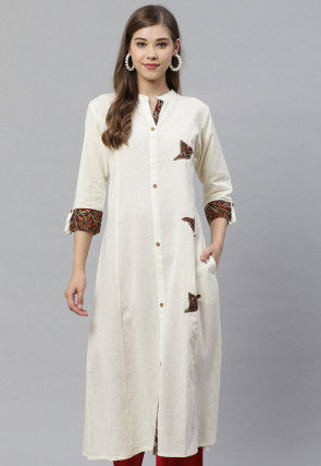 Appliqued Cotton Kurta in Cream