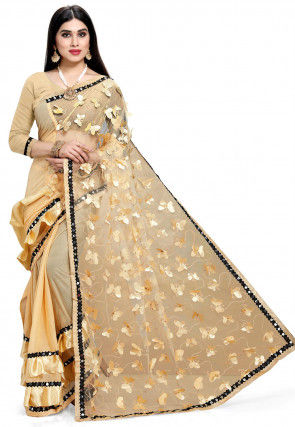 Appliqued Half N Half Net Saree in Light Beige