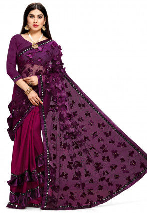 Appliqued Half N Half Net Saree in Wine