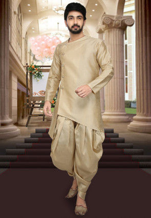 Asymmetric Art Silk Dhoti Kurta in Beige
