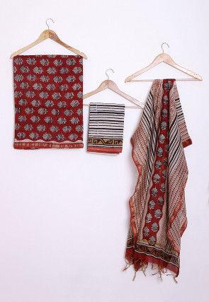 Bagru Printed Chanderi Cotton Straight Suit in Rust