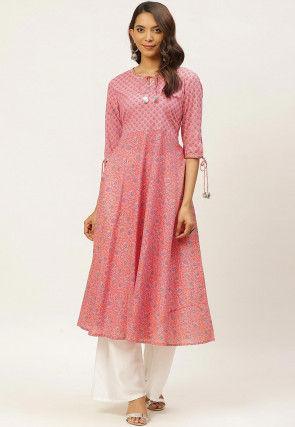 Bagru Printed Cotton Kurta in Pink