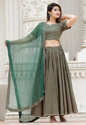 Bagru Printed Cotton Lehenga in Dark Teal Green