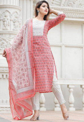 Bagru Printed Cotton Pakistani Suit in Coral Pink