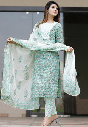 Bagru Printed Cotton Pakistani Suit in Light Grey and Teal Green