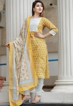 Bagru Printed Cotton Pakistani Suit in Yellow