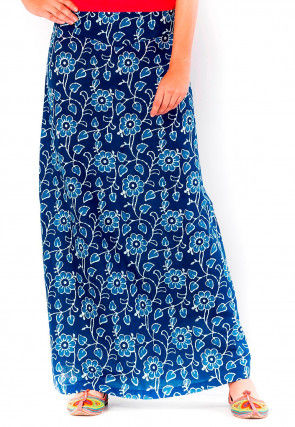 Bagru Printed Cotton Skirt in Indigo Blue