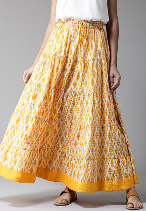 Bagru Printed Cotton Tiered Skirt in Yellow