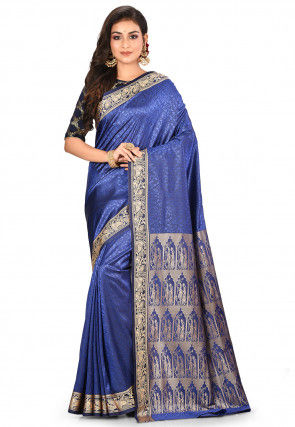 Baluchari Saree in Dark Blue