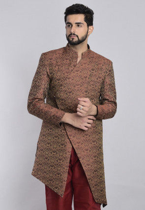 Banarasi Art Banarasi Silk Sherwani in Dark Old Rose