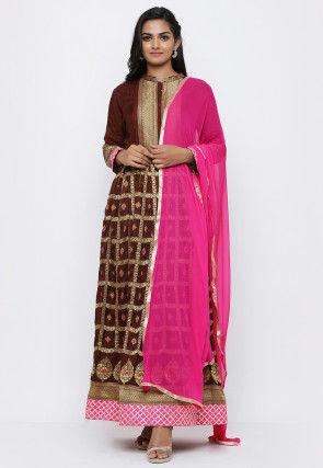 Banarasi Abaya Style Suit in Dark Brown