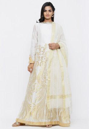 Banarasi Abaya Style Suit in Off White