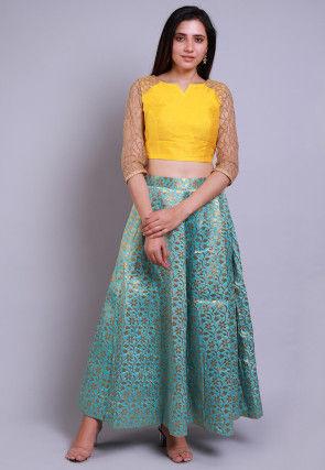 Banarasi Brocade Crop Top with Skirt in Yellow and Green