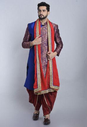 Banarasi Brocade Dhoti Sherwani in Blue