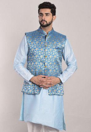 Banarasi Brocade Nehru Jacket in Light Blue